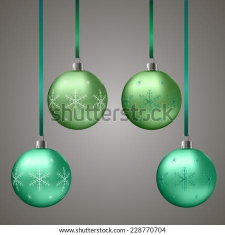 green christmas balls with