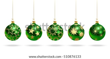 green christmas balls with