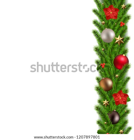 Green Christmas Garland With Gradient Mesh, Vector Illustration #1207897801