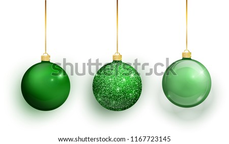 Green Christmas tree toy set isolated on white background. Stocking Christmas decorations. Vector object for christmas design, mockup. Vector realistic object Illustration 10 EPS