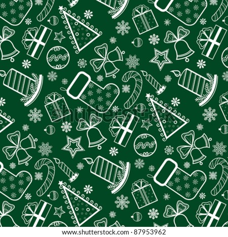 Green Christmas Wallpaper With New Year Theme Stock Vector