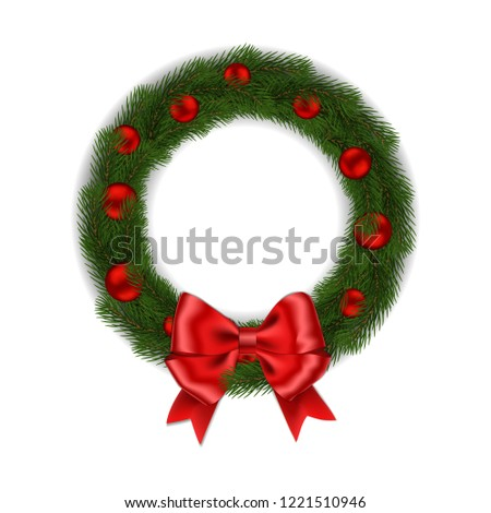 green christmas wreath with red