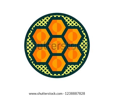 green circle hexagon honeycomb