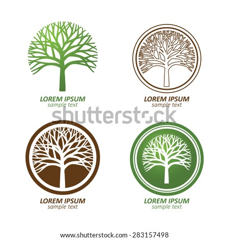 abstract tree logo free vector 123freevectors. Black Bedroom Furniture Sets. Home Design Ideas