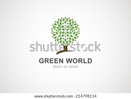 Green circle tree vector logo design template. Garden or ecology icon.