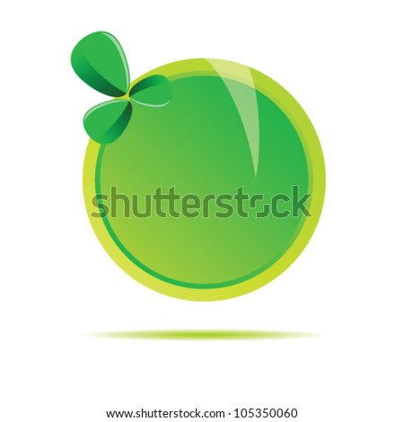 green circle with leaf illustration on white