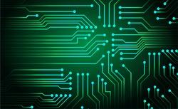 Green circuit board vector background