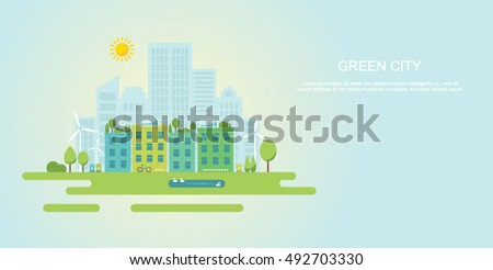 Green city and sustainable community flat vector illustration/banner