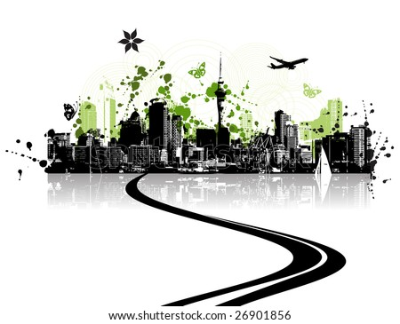 Green city, cityscape background, urban art