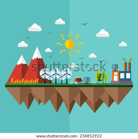 Green city concept illustration in flat style design. Ideas for ecology brochure, book cover and print poster. EPS10 vector file.