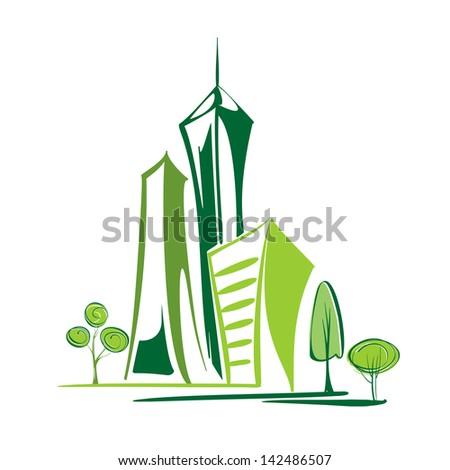 green city - environment and ecology cartoon vector  illustration