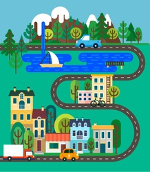 Green city flat design. Nature landscape with mountains, trees, waterfall, lake, road and small city. Vector illustration for info graphic, web and graphic design.