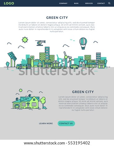 Green City for website banner and landing page , Flat line design for website. Vector