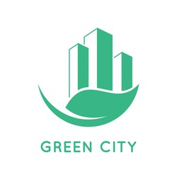Green city icon. Buildings and leaf. Green living concept. Environmental awareness in urban area. Eco friendly home logo or symbol. Sustainable lifestyle in town. Vector illustration, flat, clip art.