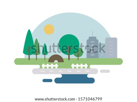 Green City Illustration Vector, Illustration, Vector Illustration