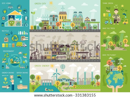 Green city Infographic set with charts and other elements. Vector illustration.