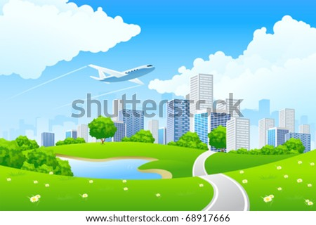green city landscape with road