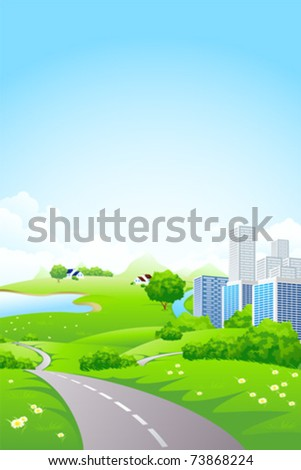 Green City Landscape with road lake and flowers