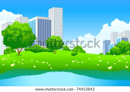 Green City Landscape with tree lake and flowers