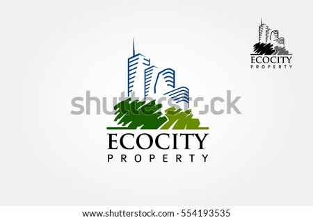 Green City Logo Template. Vector logo illustration