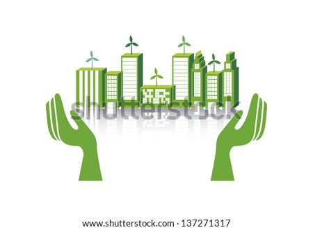 green city over white background. vector illustration