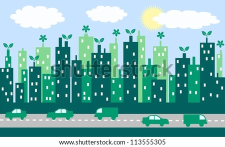 green city skyline