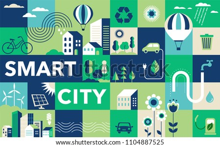 Green city, smart city concept, modern design. Geometric urban landscape, banner and poster