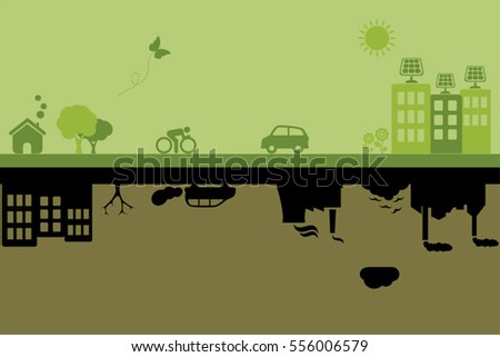 Green city with sustainable living versus polluted industrial city