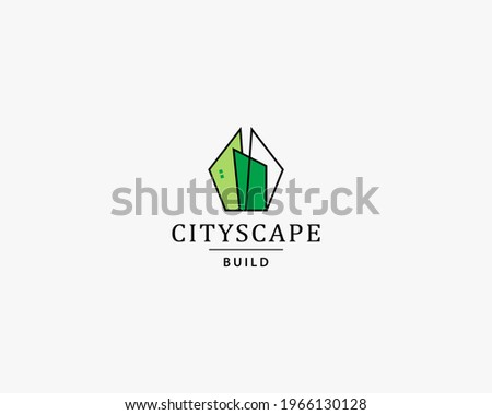 Green cityscape logo design template. Unusual skyscrapers. Modern logo design emblem. Design for architecture, planning, structure, construction, building, apartment, residence and skyscrapers.