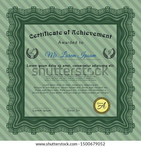 Green Classic Certificate template. With complex linear background. Nice design. Customizable, Easy to edit and change colors.