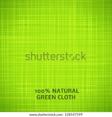 Green cloth texture background. Vector illustration for your fresh natural design. Book cover. Fabric bright ecological canvas wallpaper with delicate striped pattern.