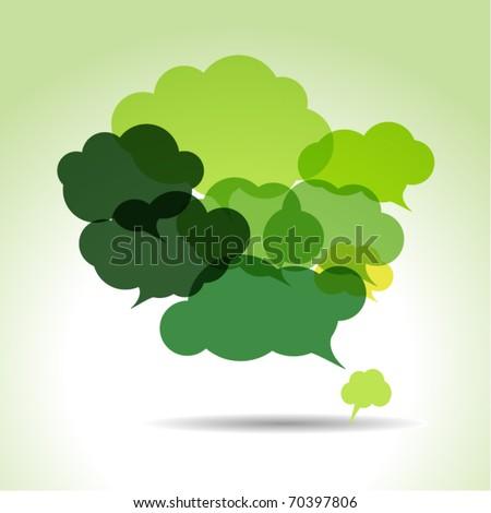 green cloud speech bubbles