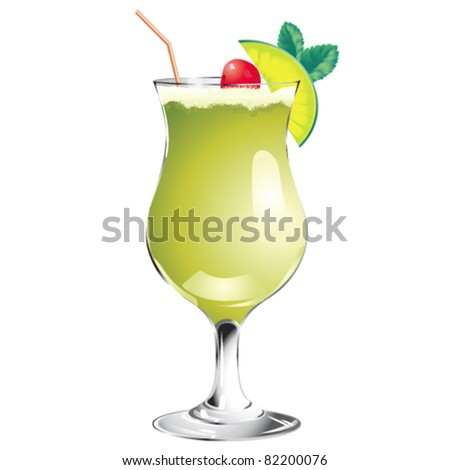 Green cocktail isolated on white