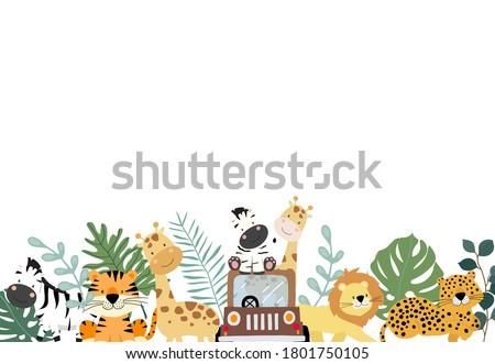 Green collection of safari background set with zebra,lion,giraffe.Editable vector illustration for birthday invitation,postcard and sticker Stock fotó ©