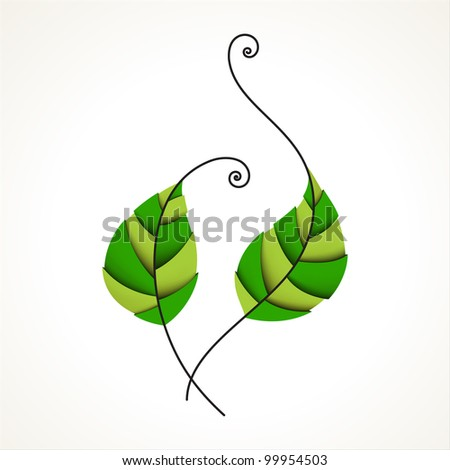 Green color leaves. Nature, organic & ecology icon