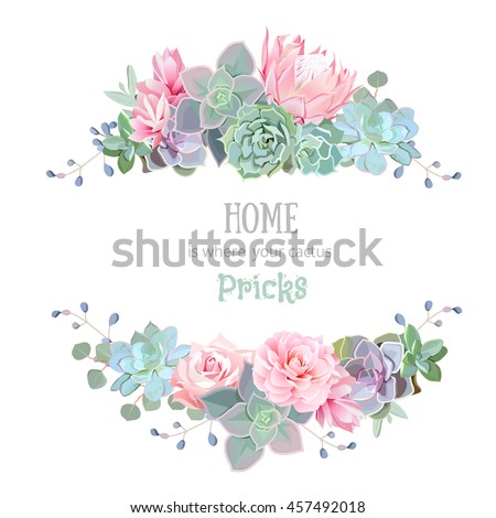 Green colorful succulents vector design round frame. Echeveria, protea, eucalyptus. Natural cactus card in modern funky style. All elements are isolated and editable.