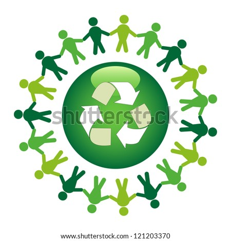 Green community. Recycle together concept.
