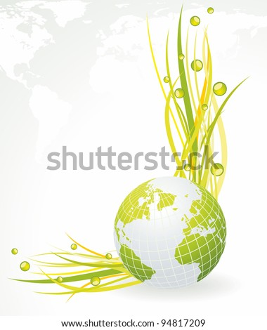 Green concept. Green globe with grass