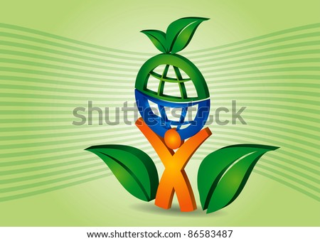 Green concept, human figures with leaf - abstract illustration with background