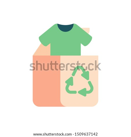 Green concept of recycle clothes and textile. Old clothing and fabric for repurpose and re-use. Foto stock ©