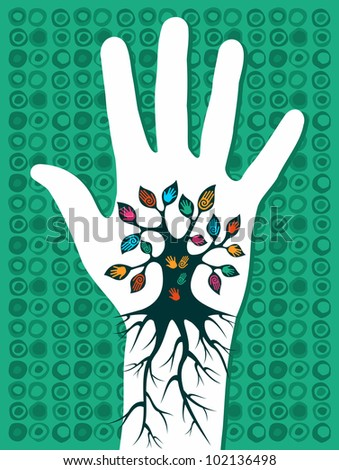 Green concept tree in hand with roots as veins. Vector file layered for easy manipulation and custom coloring.