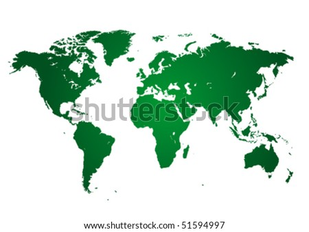 Green continents on white