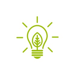 Green contour of shining electric light bulb with green leaf. Isolated on White. Flat outline icon. Vector illustration. Go green. Eco friendly. World environment day