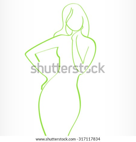 green contour of woman