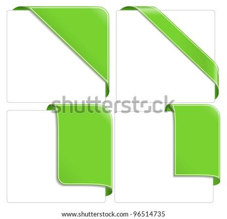 Green corner ribbons, vector eps10 illustration (transparent shadows)