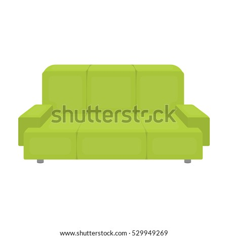 Green couch icon in cartoon style isolated on white background. Office furniture and interior symbol stock vector illustration.