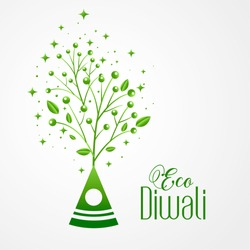 green crackers eco friendly happy diwali concept design