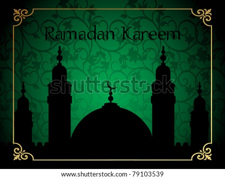 green creative floral design background with mosque - stock vector