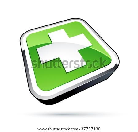 Green cross icon. medicine symbol