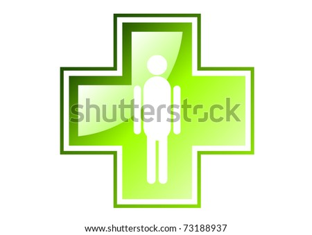 green cross isolated on the white